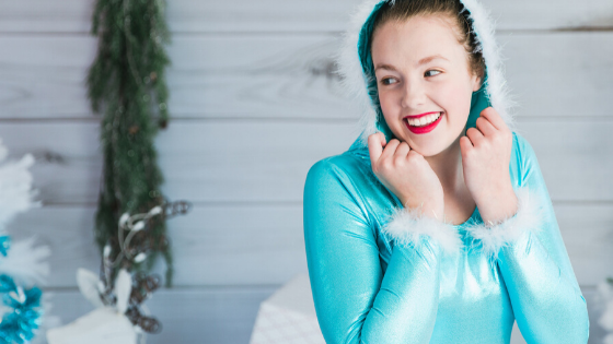 Senior dancer dressed in costume for Marshmallow World.
